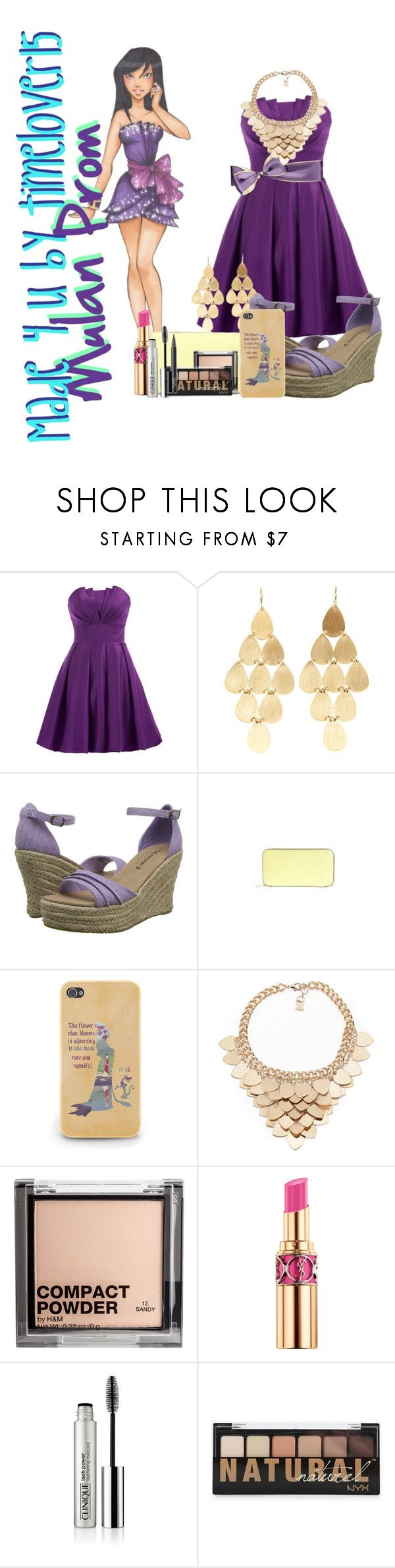 """Mulan prom"" by spectrastarlight ❤ liked on Polyvore featuring Disney, Irene Neuwirth, Bearpaw, Valextra, Kardashian Kollection, H&M, Clinique and NARS Cosmetics"