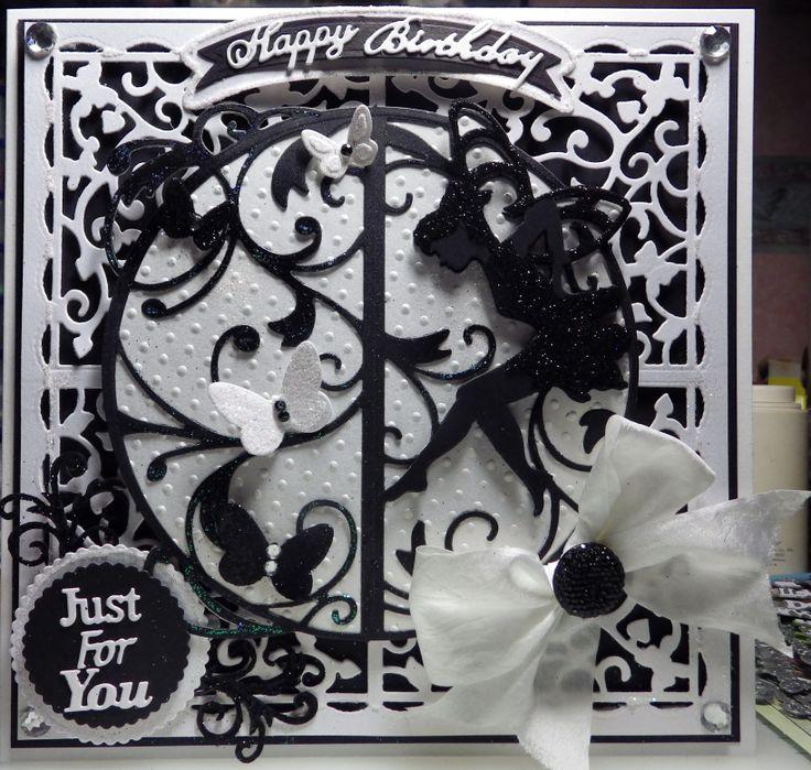 beautiful monotone tonic dies fairy birthday card