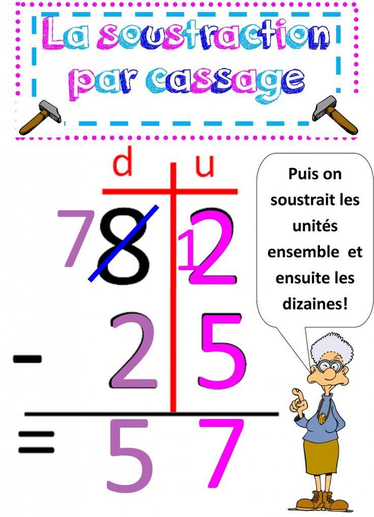 Affiche soustraction ce 1 la m thode traditionnelle par - Affiche multiplication ...