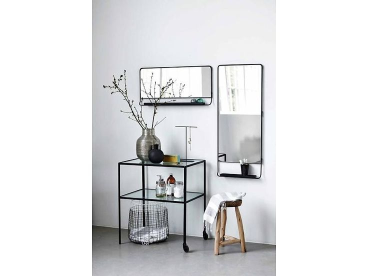 House Doctor Chic mirror with shelve black