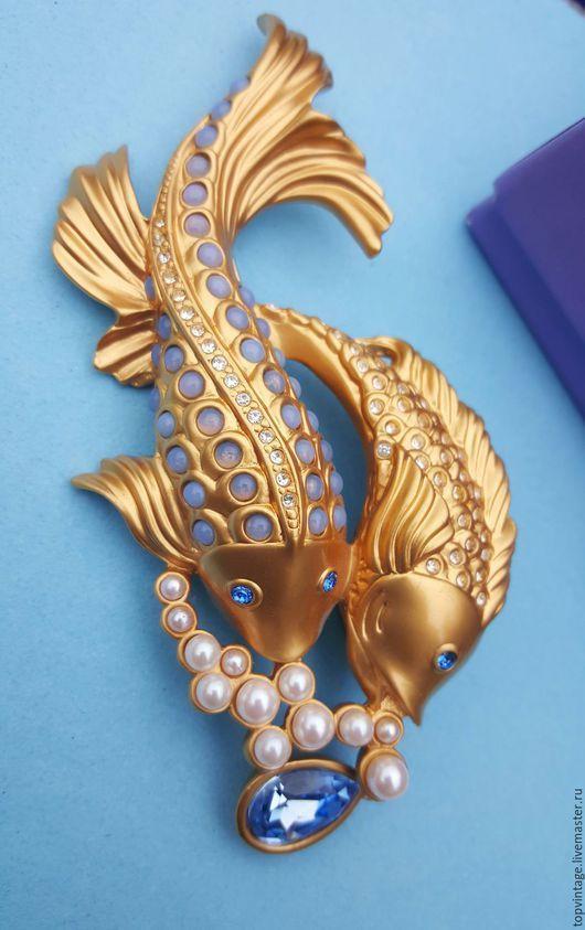 """Винтажные украшения. Ярмарка Мастеров - ручная работа. Купить Брошь """"Sea Shimmer Fish"""" Элизабет Тейлор доя AVON. Handmade."""