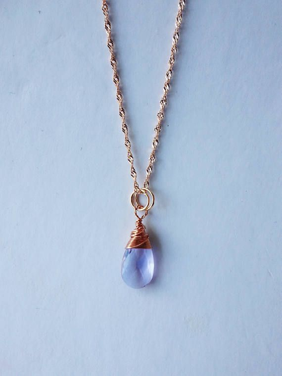 Wire Wrapped Lavender Faceted TearDrop Crystal pendant necklace ...