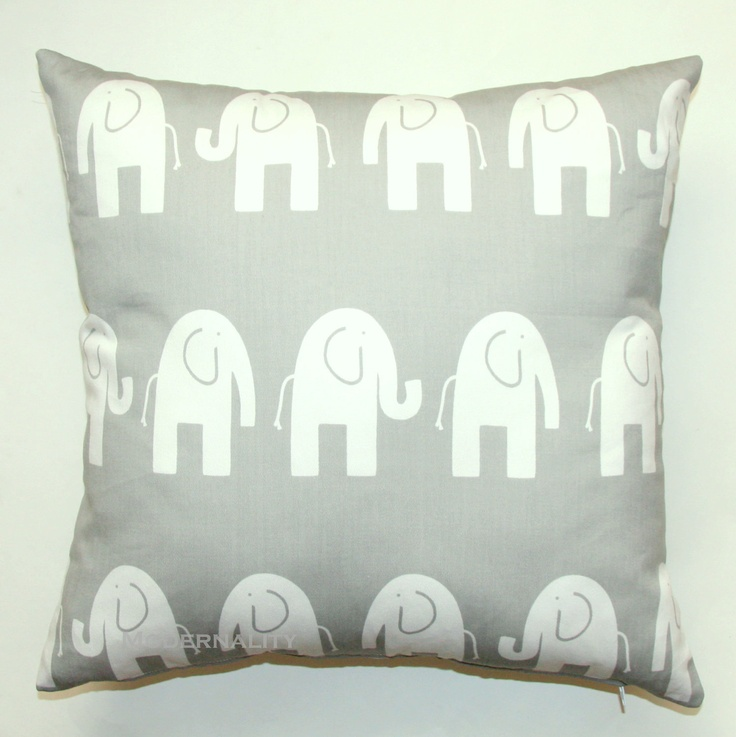 SCHOOL SALE- Premier Prints Grey and White Elephant Pillow Cover- 16x16 inches- Hidden Zipper Closure. $14.95, via Etsy.