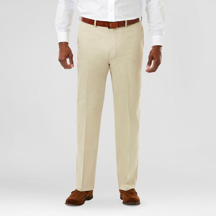 Haggar H26 Men's Big & Tall No Iron Classic Fit Stretch Trouser Pants Khaki (Green) 48x34