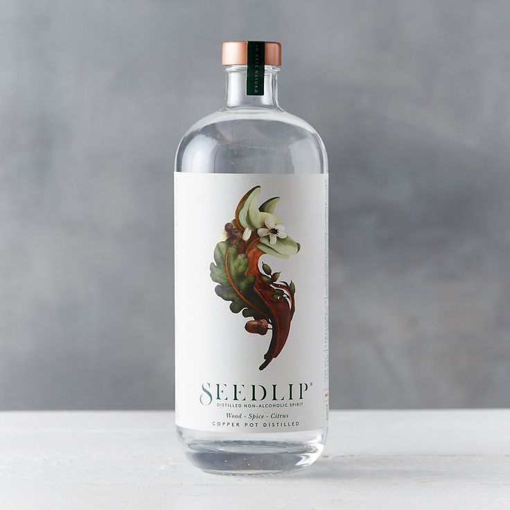 Copper top, botanical drawing, simple & beautiful label | Seedlip Spice Non-Alcoholic Spirits