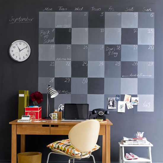 painted chalkboard calendar: Chalkboards Wall Calendar, Chalkboards Paintings, Chalk Boards, Chalkboards Calendar, The Offices, Paintings Wall, Blackboard Paintings, Home Offices, Offices Wall