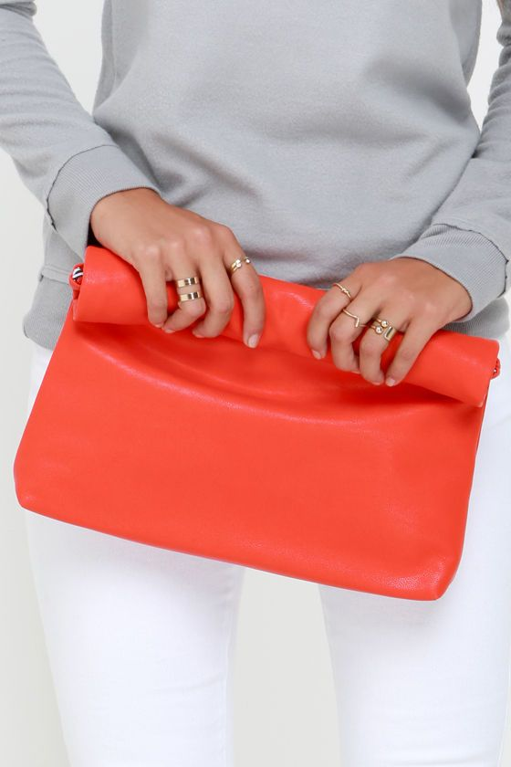 Roll Along Coral Red Clutch