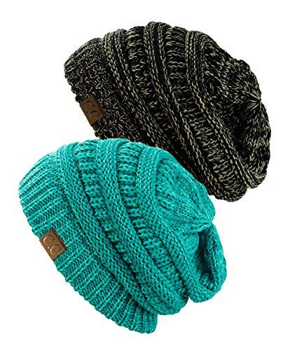 NYfashion101 Exclusive Unisex Two Tone Warm Cable Knit Thick Slouch Beanie Cap, 2 Pack - Black/Dark Beige & 2 Tone Mint NYfashion101 http://www.amazon.com/dp/B015NKHD7E/ref=cm_sw_r_pi_dp_ko31wb04MFFYD
