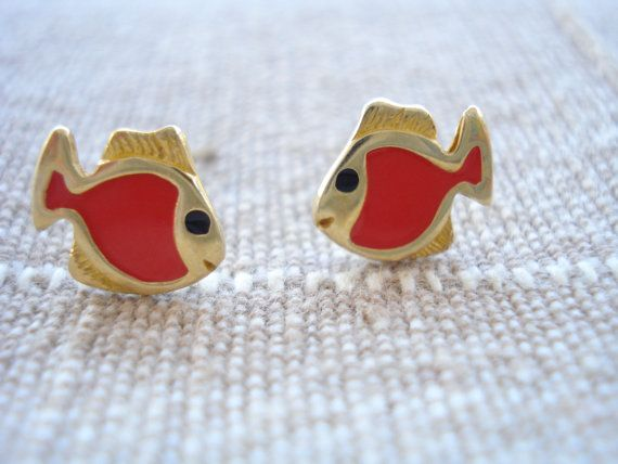 Gold red fish studs Little girl's earrings Dainty gold by Poppyg