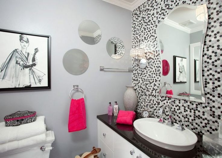 Contemporary Small Bathroom With Grey Walls And Wall Mirrors Also Pink Accents : Great Small Bathroom Color Schemes