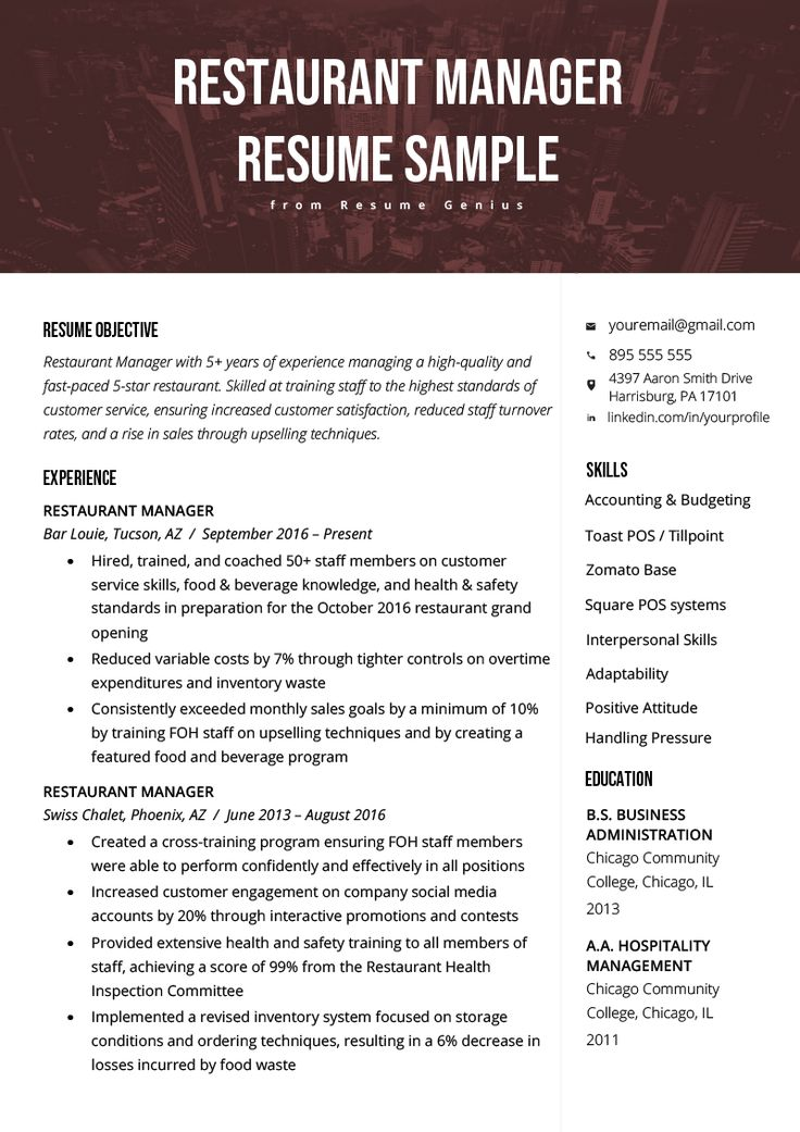 Restaurant Manager Resume Sample & Tips Resume Genius