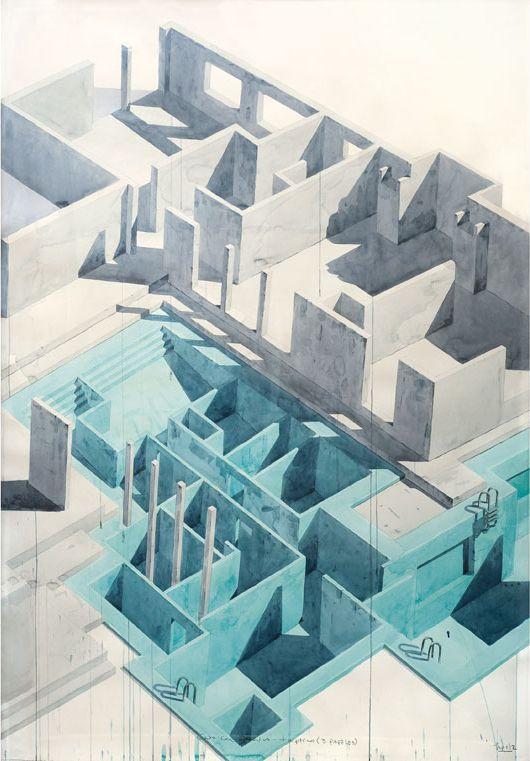 Los Carpinteros, 'Casa Con Piscina', (Part 2) 2005. Watercolour and pencil on paper, 200 x 420 x 7cm.