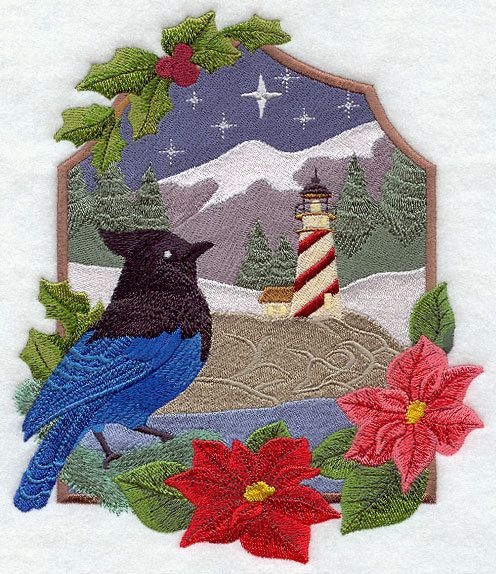 Embroidered country christmas jay quilt block, fabric,cushion panel,quilt