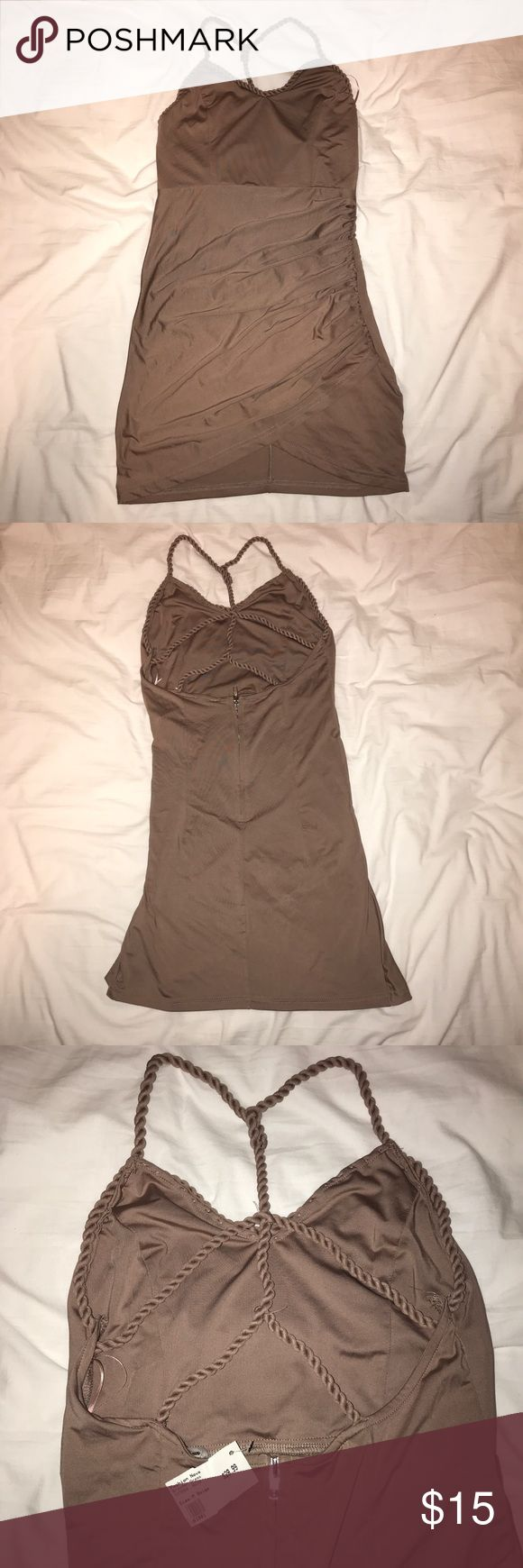 Beige Mini Dress Great for going out. Never worn and still has the tags! Very light material so no need to worry about sweating too much in the clubs! Fashion Nova Dresses Mini