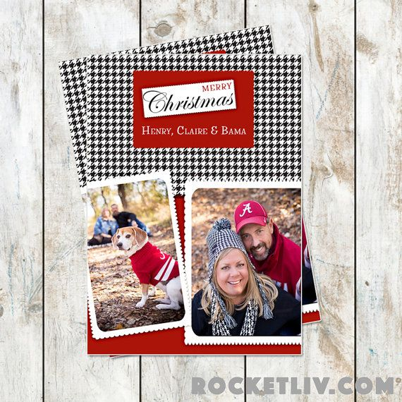 Houndstooth Photo Christmas Card by rocketliv on Etsy
