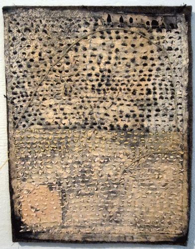 'Pink Hill': stitching on cotton with earth ochre: Dorothy Caldwell