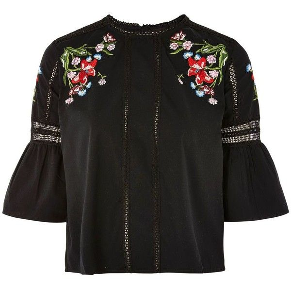 Topshop Embroidered Cotton Poplin Top (€41) ❤ liked on Polyvore featuring tops, topshop, black, 3/4 sleeve tops, flutter sleeve top, embroidered top, summer tops and topshop tops