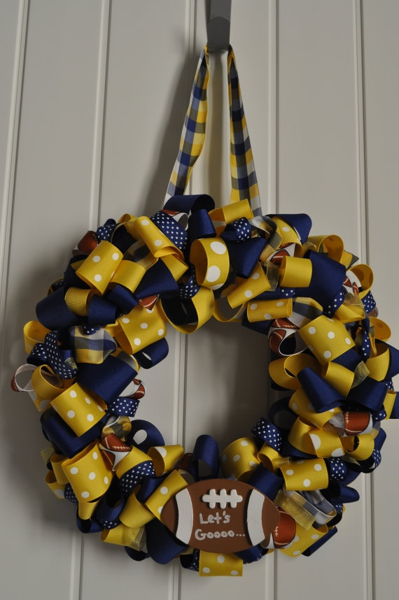 Blue and gold ribbon wreath