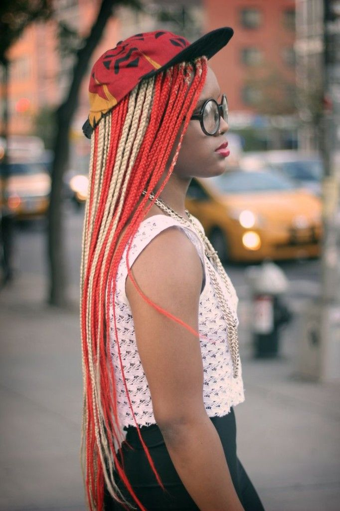 Red and blonde micro braids. on The Fashion Time  http://thefashiontime.com/4-micro-braids-hairstyles-fun-easy/#sg14