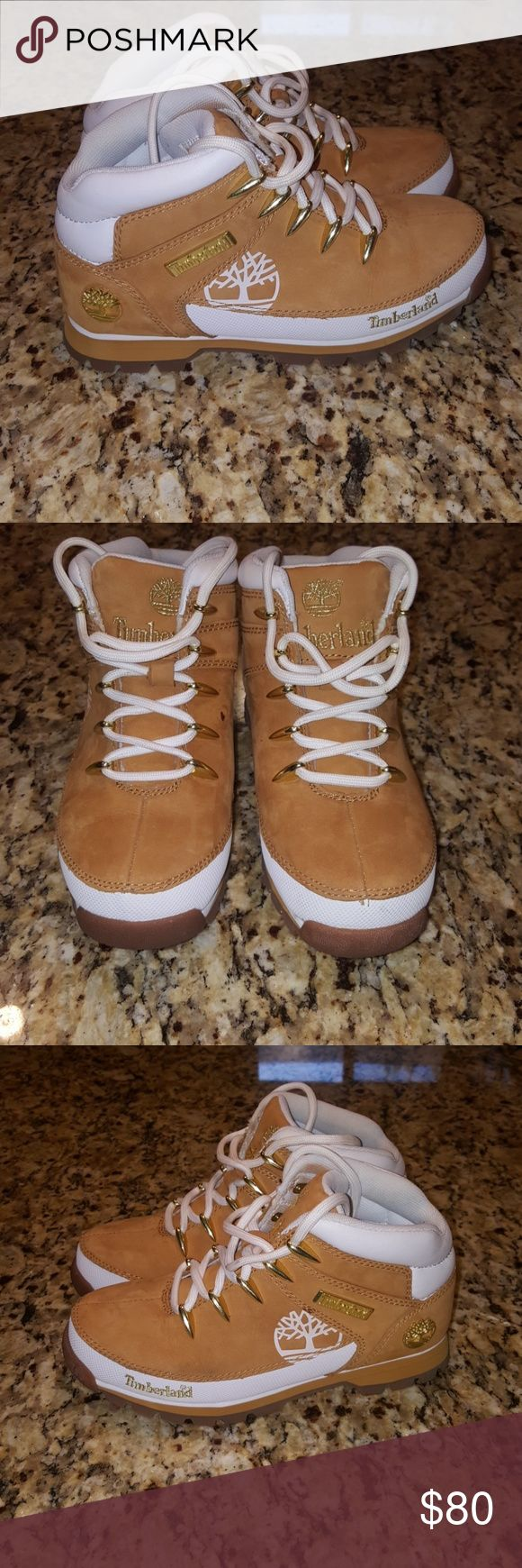 WOMENS TIMBERLAND EURO SPRINT HIKER BOOTS #16642 Look no further if you are looking for fashionable boots or something to go hiking with i have what you need these awesome boots are a wheat color with white ive only wore them 1time around the house i got a lil speck on 1 of them you can see them on picture number #5 other then that they great Timberland Shoes Ankle Boots & Booties
