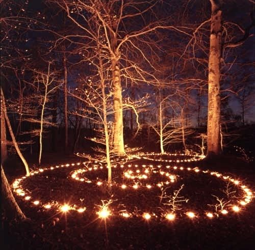 Voice of Nature, magic ceremony with candles in the woods