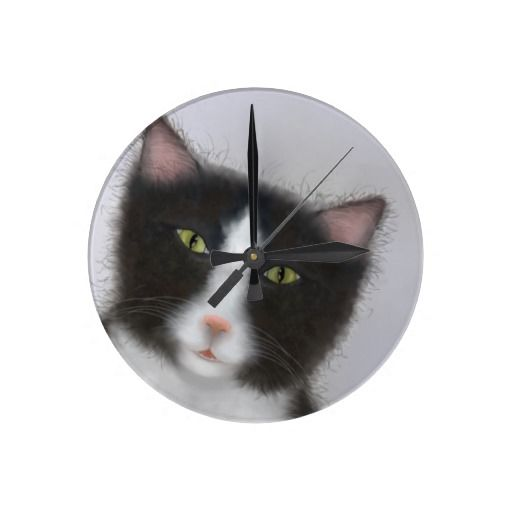 Tuxedo kitty clock http://www.zazzle.co.nz/products_with_tuxedo_cat_images_clocks-256093453665064317
