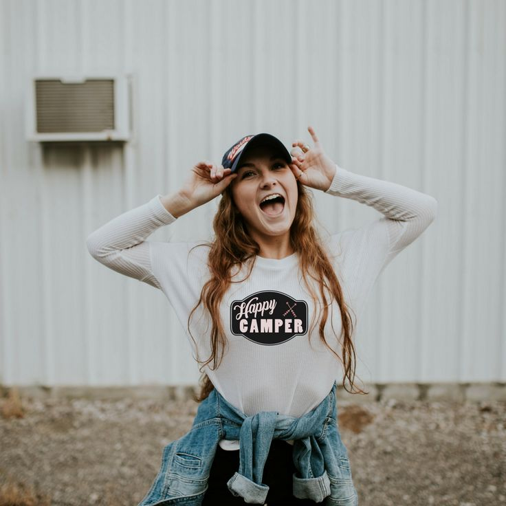 $25.00  Cozy up by the fire this summer with this Happy Camper long sleeve tee!