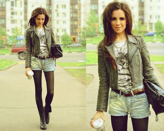 Rocker: Jackets Amazing, Games, Rockers Blk Tights, Shorts Tights, Outfit, Rockers Fashion, Fashion Inspiration, I'M, Denim Shorts