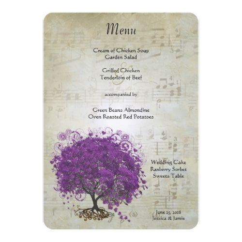 Fairy Tale Wedding Menu Purple Heart Leaf Tree Wedding Menu Card