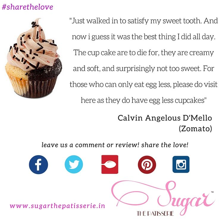 #clientdiaries Calvin writes an encouraging review about our Cupcakes. Thanks Calvin! We love hearing from you all about your experiences - do drop us a note here or on Twitter, Instagram or Zomato and we'll hear you out! #sugarthepatisserie #zomato #review #testimonial #sharethelove #mumbaifoodie #latenighteats