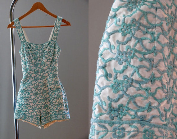 1950s Turquoise Seas embroidered jantzen by coralvintage on Etsy, $220.00