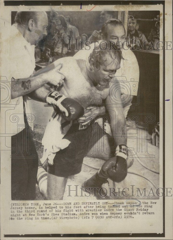 19769 Press Photo Down and Definatly out -Chuck Wepner.