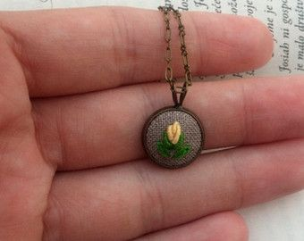 Hand Embroidery Jewelry Gift for Mom Embroidered Flower