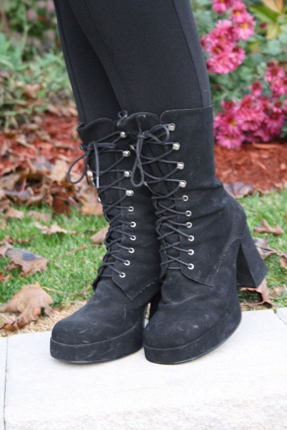 Vegan 90s Black Goth Witchy Boots Club Kid Grunge Witch By Thewitcheryvintage Boots In 2019 Goth Boots Boots Shoes