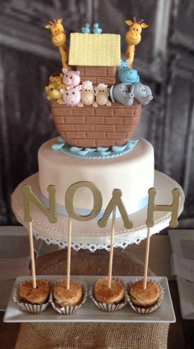 Custom Noah's ark cake and some homemade mini guava cakes for Noah's shower!