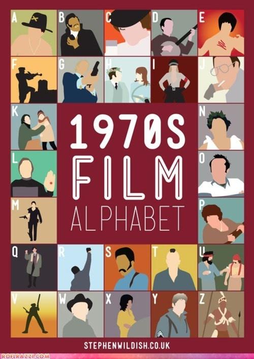 1970s Film Alphabet / Illustrated and designed by artist Stephen Wildish.