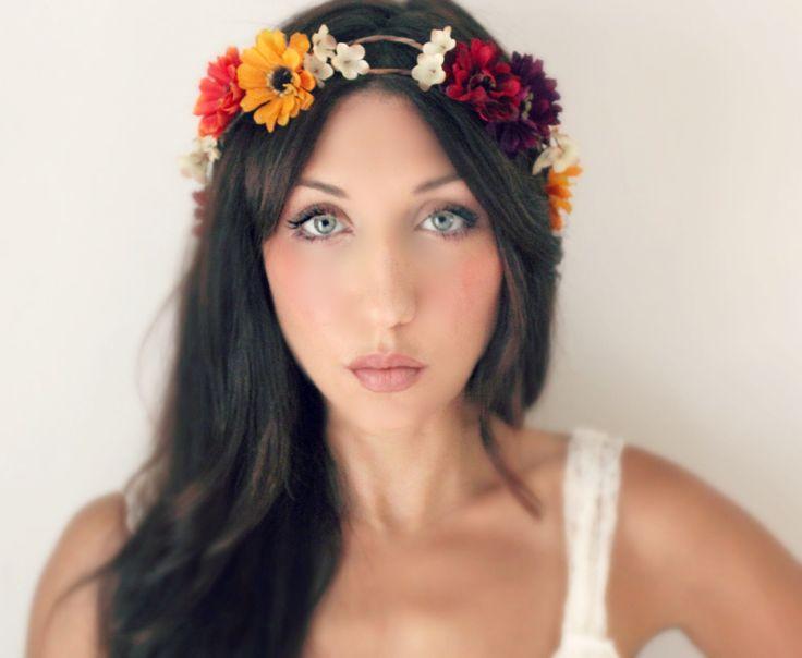 Autumn Flower Crown, Fall Wedding Tiara, Daisy, Gerbera, wedding accessories, bridal flower, red, purple, orange, yellow. $60,00, via Etsy.