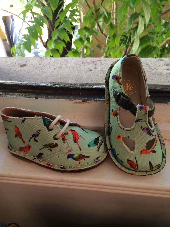 pepe kids shoes with bird textile. my heart just stopped - I LOVE THESE.