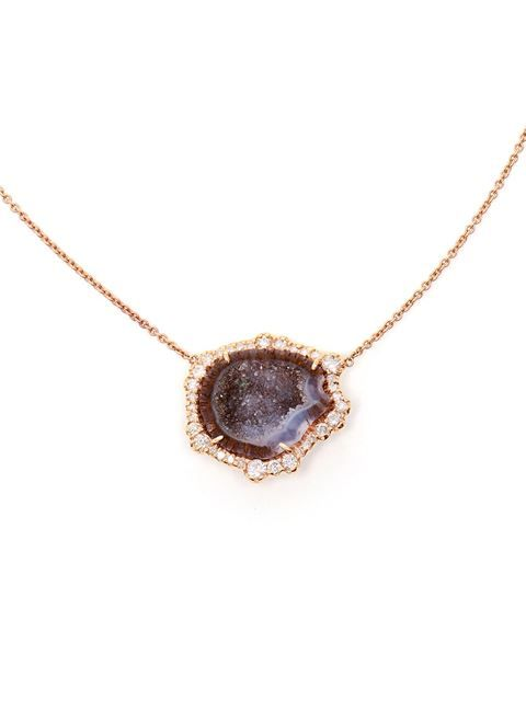 Shop Kimberly Mcdonald geode and rose gold pendent necklace $7,634.29 farfetched