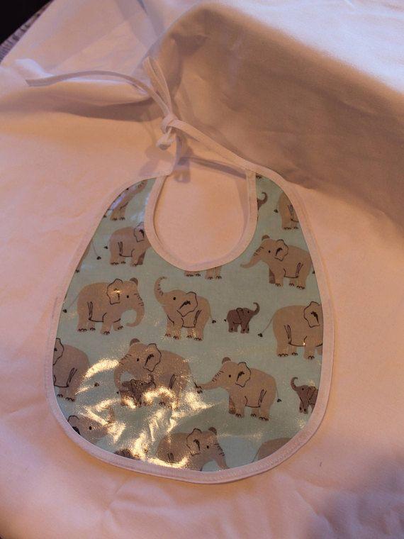 Baby bib, Plastic bib, Fannel bib, Reversible bib, Baby shower gift, Elephant
