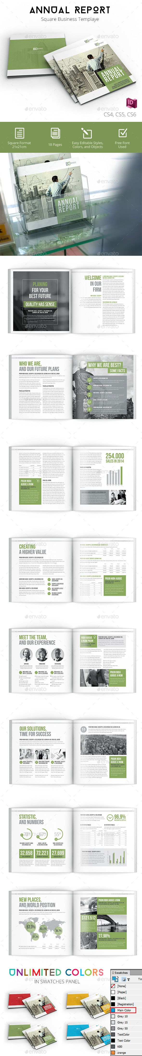 Annual Report 2017 Clean and Modern Square Brochure Template InDesign INDD