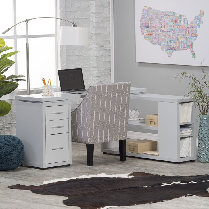 Have to have it. Hudson L-Shaped Desk - Gray - $249.99 @hayneedle