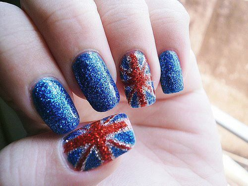 LOVE!: Fashion Beautiful, Nails Art, Unionjack, Glitter Nails, Acrylics Nails Design, British Nails, Jack O'Connel, British Flags Nails, Union Jack Nails