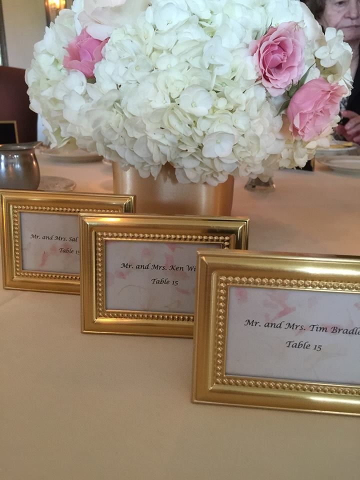 beautifully beaded gold photo frameplace holder weddings