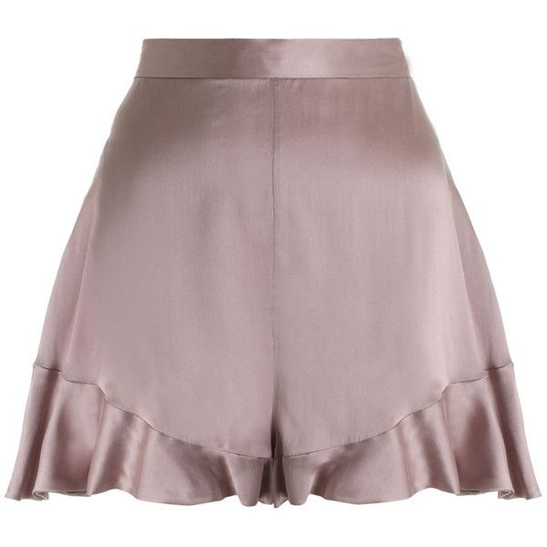 ZIMMERMANN Sueded Silk Floating Short found on Polyvore featuring shorts, bottoms, skirts, pants, silk short shorts, suede shorts, frilly shorts, ruffle shorts and silk shorts