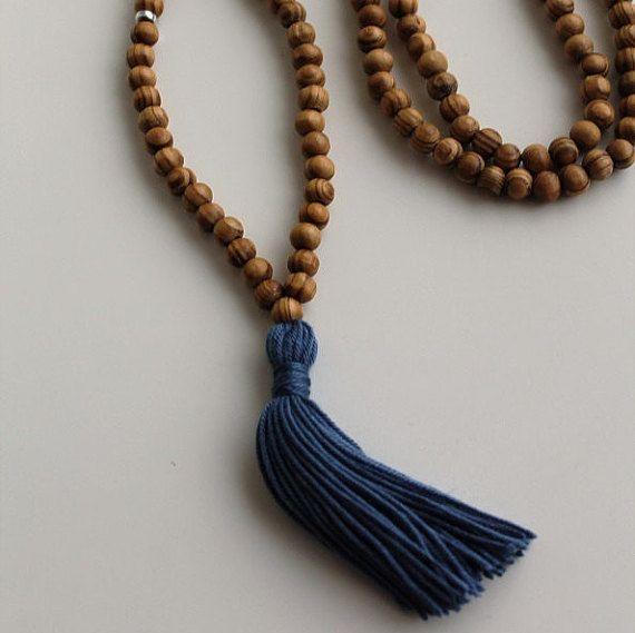 """Blu marino BlueTassel Yoga collana Yoga Mala nappa collana perline di legno collana meditazione Yoga rosari perle perline in legno 33"""" Loop"""