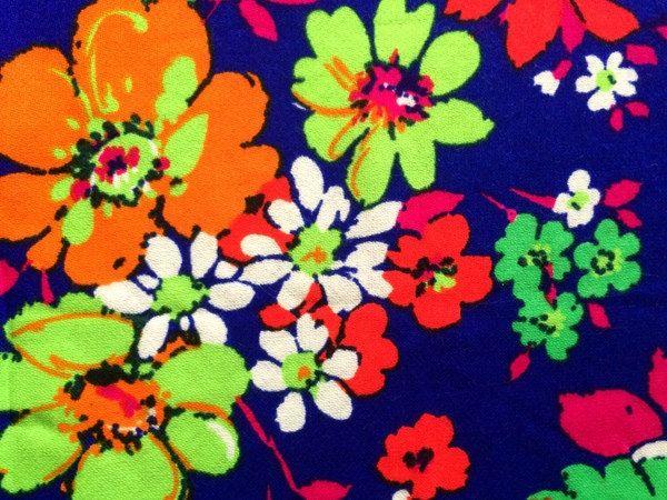 Vintage 60s THC Hawaiian Fabric Neon Psychedelic Daisy Flower Floral Print Lime Green Tangerine Orange Mid Century Mod Cute Bright Fun BTY by CuteBrightFun on Etsy
