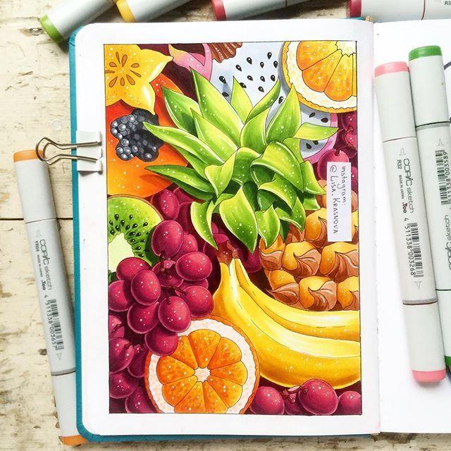 Tutti frutti  Поразительно, но летом нет ни одного фруктового праздника, кроме дня здорового питания. Хотя, казалось бы, когда есть фрукты, как ни летом? В общем, эта работа на заказ для чудесных @fruity_house в тему марафона не вписывается, но это же не повод ей не поделиться ;)