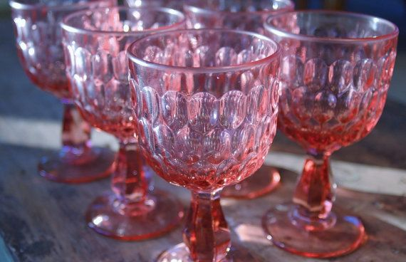 Set of 6 Fenton Glass Colonial Pink Thumbprint Glasses - SOLD! :)