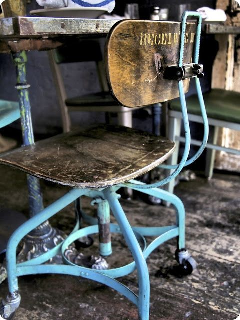 Blue metal and wood chair - Norwegian Industrial Hey I have two of these in my ROOM, LOL!